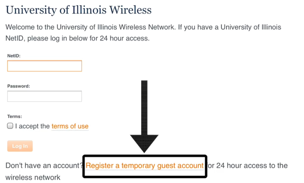 Location of guest Wi-fi registration link